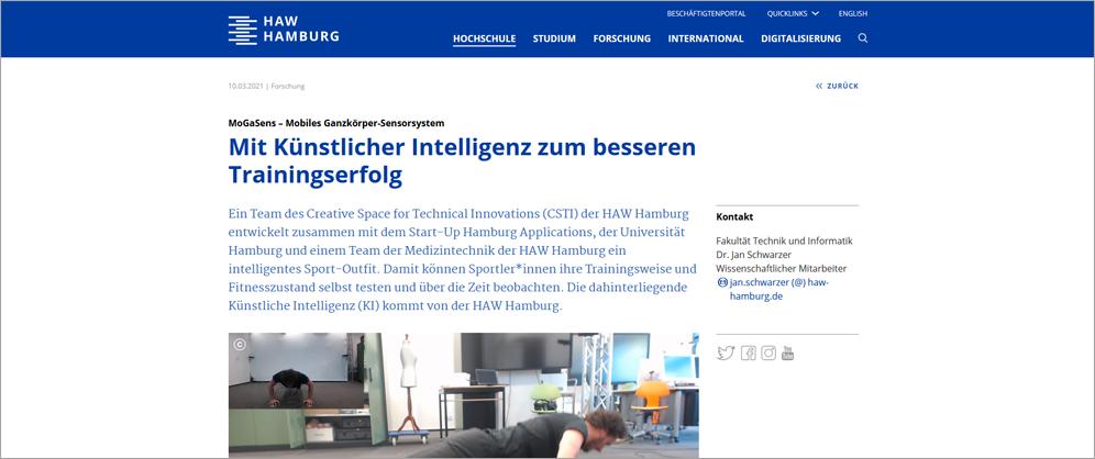 "HAW Presseartikel zum CSTI-Projekt ""MoGaSens"""